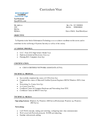 Sample Resume Formats For Freshers by Resume Format For Network Administrator Freshers Resume Format