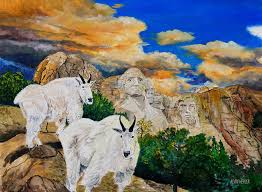 mountain goat mount rushmore painting by alvin hepler