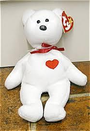 ty valentino ty valentino white with heart beanie baby