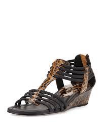 donald j pliner dexi leopard print wedge sandal in brown lyst