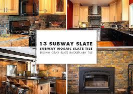 brown slate mosaic subway tile kitchen backsplash ideas with white