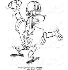 vector of a cartoon black male football player scoring a touchdown