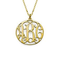gold plated monogram necklace 18k gold plated circle monogram necklace mynamenecklace