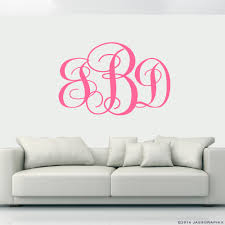 monogram wall decals personalise your rooms and walls monogram wall decals light pink