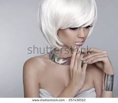 glamorous styles for medium grey hair white short hair fashion stylish blond stock photo 257438512