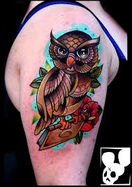 colorful owl arm tattoo best tattoo design ideas