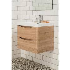 white oak wall hung vanity u0026 basin