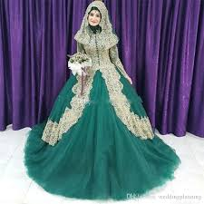 islamic wedding dresses 2018 muslim green and gold lace gown islam wedding dresses