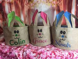 easter baskets for sale burlap bunny ears easter basket bunny personalized