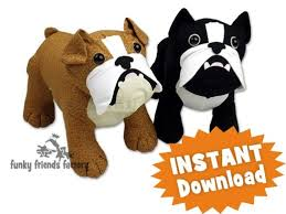 butch u0026 bella the bulldogs instant download stuffed animal toy