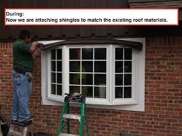 replacing a bay window in houston houston window experts houston master window installer installing shingles onto bay window roofing