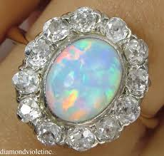 opal engagement rings 2 73ct antique vintage australian opal diamond engagement wedding