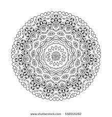 Vector Print Henna Mandala Flower Coloring Stock Vector 550018282 Mandala Flowers Coloring Pages
