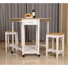 White Breakfast Bar Table Basicwise 3 Piece White Kitchen Island Breakfast Bar Set With