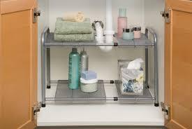 Bathroom Cabinet Shelves by Amazon Com Seville Classics Expandable Under Sink Shelf With