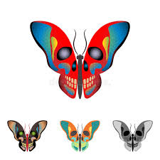 butterfly with a skull on wings stock vector illustration of