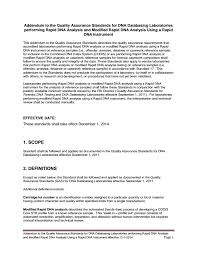 Resume Addendum Addendum To Quality Assurance Standards For Rapid Dna U2014 Fbi