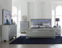 Contemporary California King Bedroom Sets - homelegance allura 4pcs silver wood led lighting cal king bedroom set