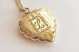 Monogram Locket Necklace Vintage Initial L Locket Necklace Gold Filled Monogram L Locket