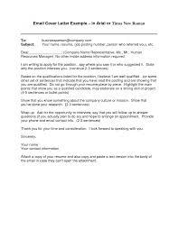cover letter cover letter for emailed resume sample cover letter