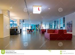 modern city hall of utrecht with waiting room for visitors