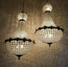 Basket Chandeliers Pair Of Large Empire Style 1920s Antique Basket Chandeliers