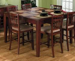 estella cherry finish wood pub bistro bar height dining table set