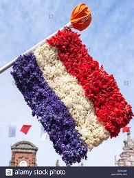 flag of the netherlands made from flowers at dutch flower parade