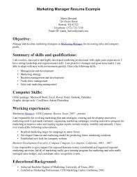 cover letter resume objective for marketing position sample resume