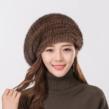 barret hat women s fur beret hat high quality mink knitted hat fashion warm