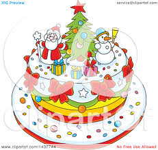 clipart of a festive cake with tree snowman and