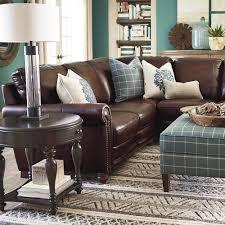 hgtv home design studio at bassett old world brown leather sectional bassett furniture