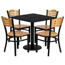 tables and chairs restaurant table chairs 30 square black laminate with 4 wood slat