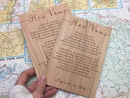 wedding vow cards rustic vow cards wedding vows engraved