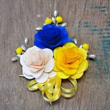 Wooden Flowers Royal Blue Yellow And Ivory White Wooden Flowers Brooch Corsage