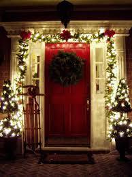 how to secure garland around front door designs