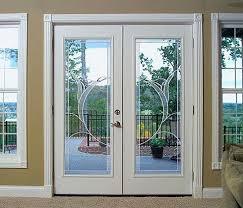 ultra prehung mini blind steel patio door with no brickmold in