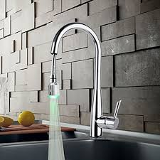 solid brass chrome finish kitchen faucet with color changing led