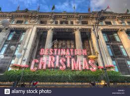 selfridges department store christmas decorations stock photo