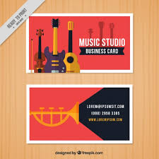Business Card Music Red Business Card For A Music Studio Vector Free Download