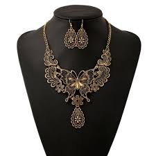 long drop pendant necklace images 2018 women girls vintage hollow butterfly pendant necklace choker jpg