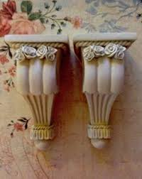 Curtain Rod Sconce Pair Of Small Shabby Decorative Curtain Rod Sconce Holders Cottage