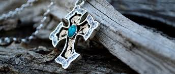silver cross necklace pendants images Rimrock blue turquoise crystal cross pendant crosses by hyo silver jpg