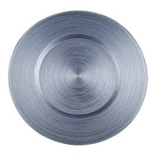 contempo linens charger plates glass circle silver