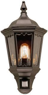 black exterior wall lights medstead black exterior half lantern wall light with pir md7 pir blk