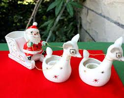 vintage santa with sleigh and reindeer etsy