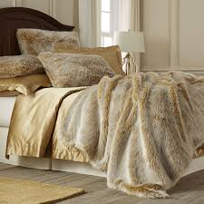 Faux Fur Bed Throw Gold Ombre Luxe Faux Fur Ombre Blanket U0026 Sham Pier 1 Imports