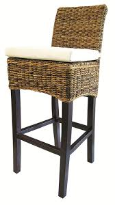 Bar Stool With Cushion Four Hands Grass Roots Woven Banana Leaf Barstool W Canvas