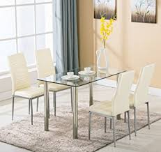 metal kitchen furniture 5 dining table set 4 chairs glass metal kitchen