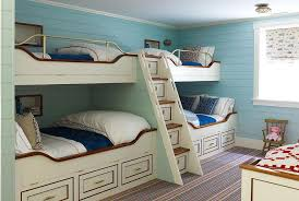 Turquoise Bunk Beds With Pink And And Orange Bedding Cottage - Fitted bunk bed sheets